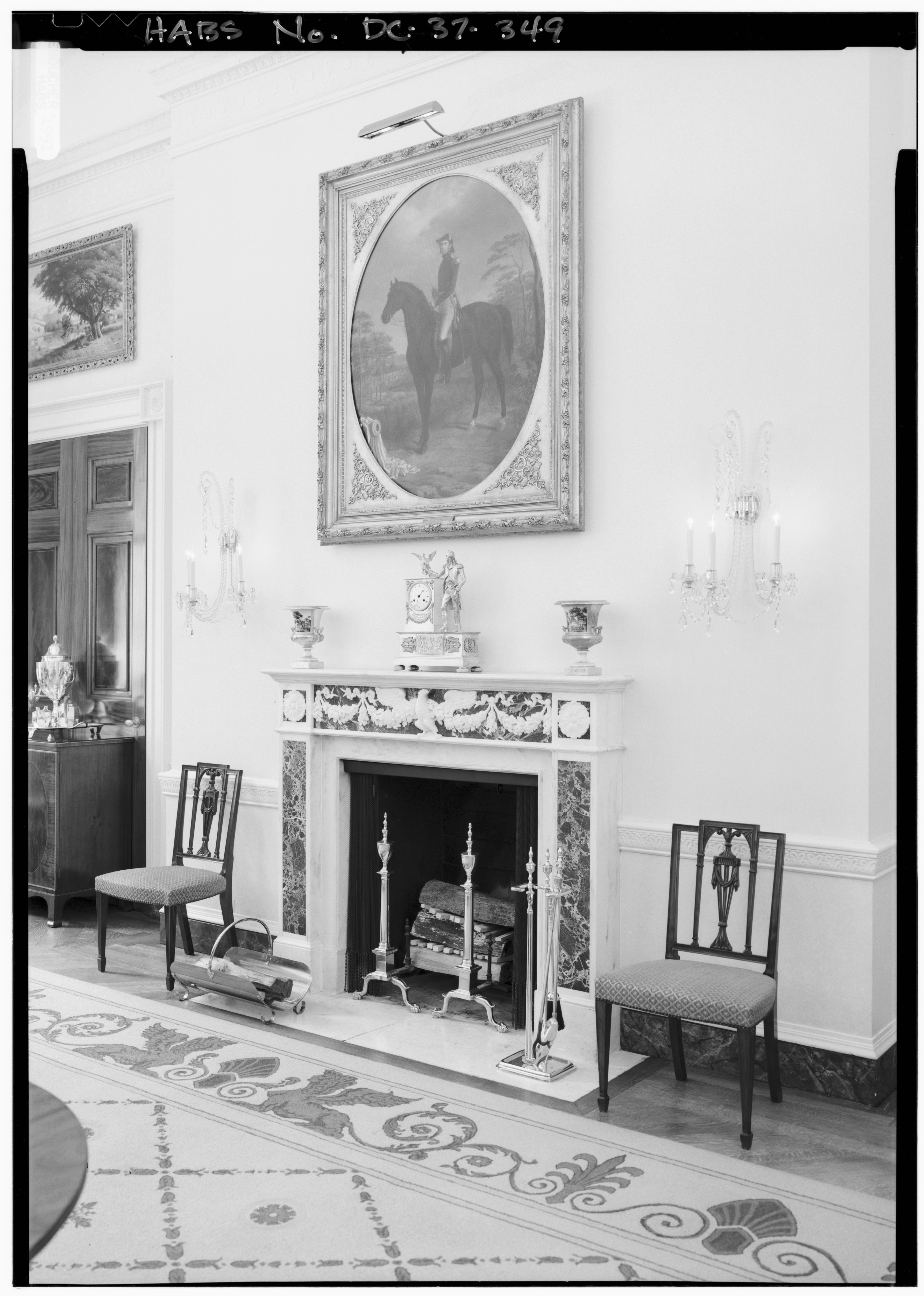 File 116 private dining room oblique view of fireplace for Best private dining rooms washington dc