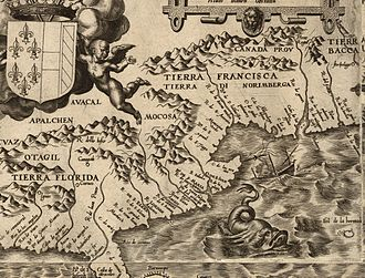 Ajacan - Clip from Gutiérrez map of Spanish North America, 1562.