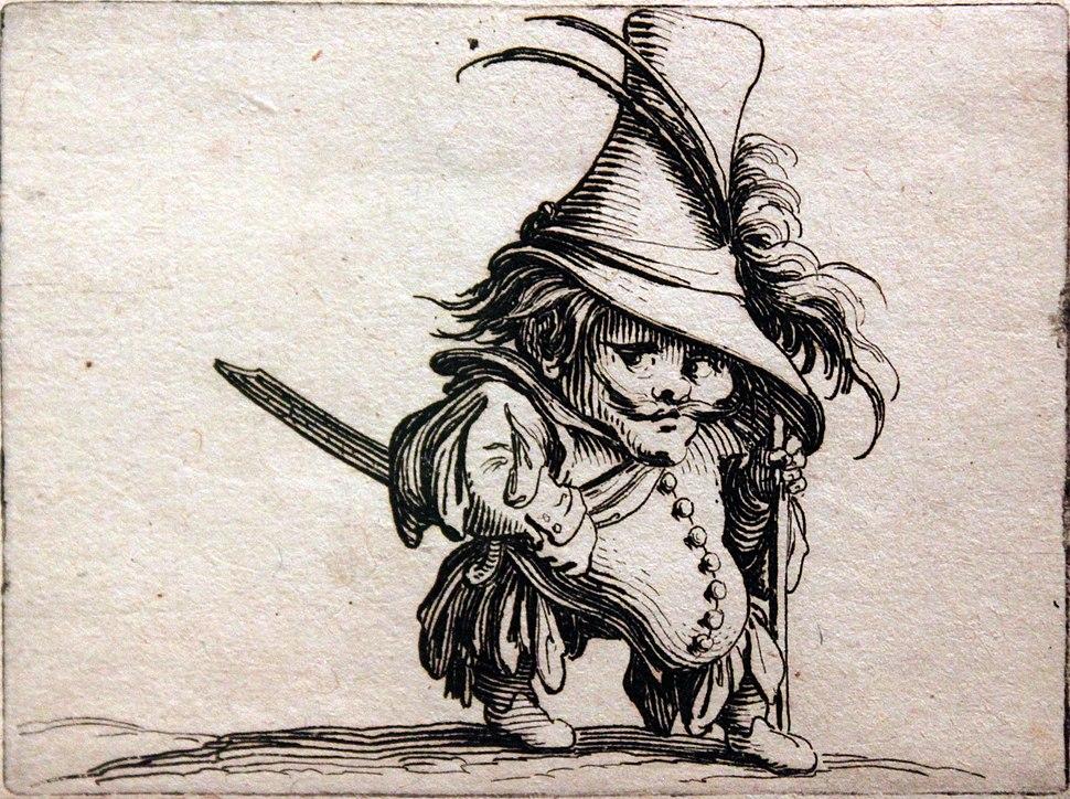1620 Callot Zwerg mit Hängebauch und hohem Hut anagoria