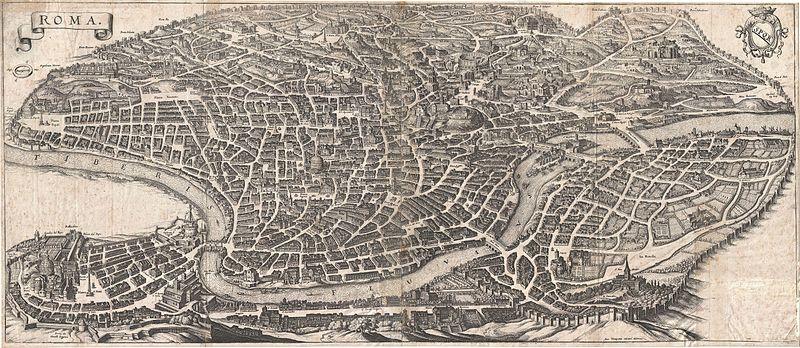 1652 Merian Panoramic View or Map of Rome, Italy - Geographicus - Roma-merian-1642.jpg