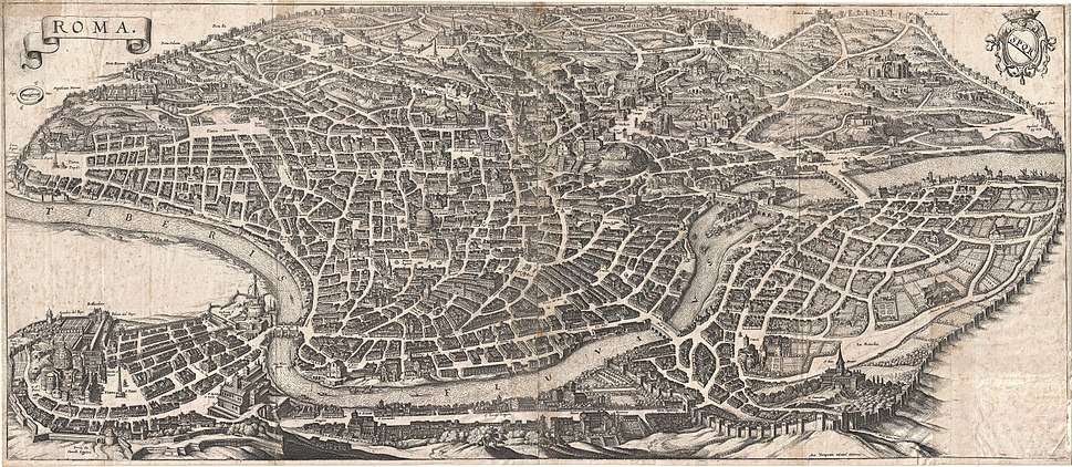 1652 Merian Panoramic View or Map of Rome, Italy - Geographicus - Roma-merian-1642