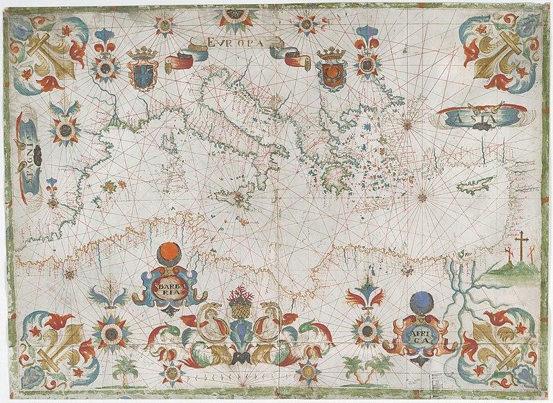 François Ollive: Carta portulana (mapa) del mar Mediterráneo (1661).