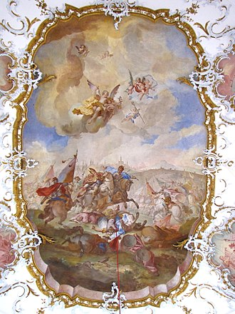 Battle of Lechfeld (955) - The Battle on the Lechfeld (1744). Fresco by Balthasar Riepp.