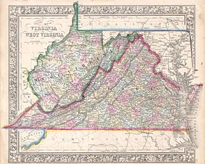 Restored Government of Virginia - 1864 map of the states of West Virginia and Virginia by Samuel Augustus Mitchell. The Restored Government of Virginia claimed to be the rightful government of these lands until the admission of the State of West Virginia into the Union in 1863, after which claiming the control of the modern state of Virginia.