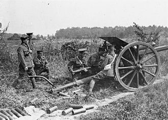 1st Aberdeenshire Artillery Volunteers - 18-pounder in action on the Somme
