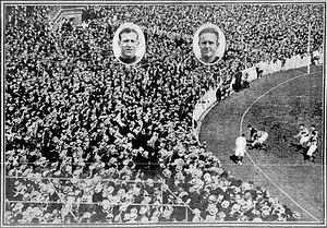 1924 Championship of Victoria - Crowd at the Championship of Victoria, with inserted images of club captains Con McCarthy (Footscray) and Syd Barker (Essendon)