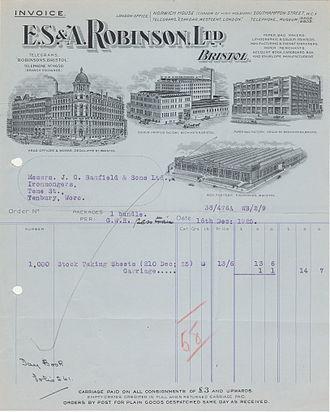 E. S. & A. Robinson - Image: 1925 ES&A Robinson Invoice with illustrations