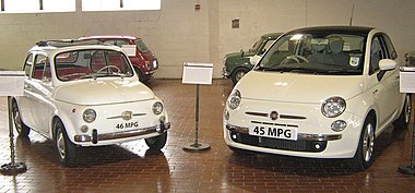 The old (1966) and new 500. The new 500 is 0.5 m (20 in) longer than the old one