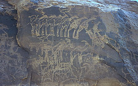 Ancient rock engraving showing herds of giraffe, ibex, and other animals in the southern Sahara near Tiguidit, Niger. 1997 278-10 Sahara glyph.jpg