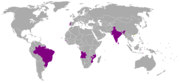 Participating countries (purple) and host city (yellow square) of the 1st Lusofony Games.