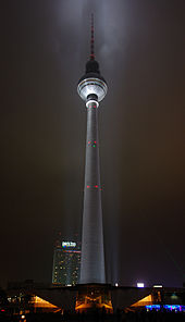 TV tower, lit up at night