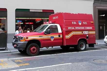 One of the many smaller S.O.C. Support Trucks operated by the FDNY for use at various emergencies. 2011-NYC-FDNY-truck-F450.JPG
