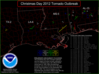 Late December 2012 North American storm complex - Confirmed tornadoes on December 25, 2012.