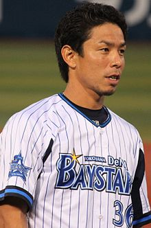 20140915 Shigeo Yanagida, infielder of the Yokohama DeNA BayStars, at Yokohama Stadium.JPG