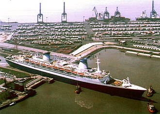 SS France (1960) - Norway leaving Lloyd shipyards in Bremerhaven after conversion.