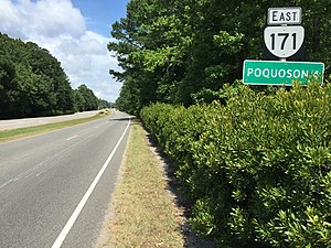 Virginia State Route 171 - View east along SR 171 at US 17