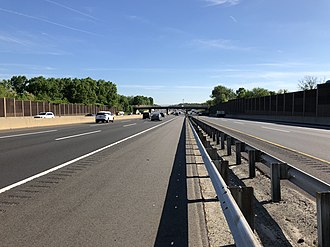 Milltown, New Jersey - View north along the New Jersey Turnpike (I-95), the largest and busiest road in Milltown