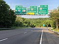 2019-05-17 18 43 25 View east along Interstate 68 and U.S. Route 40 (National Freeway) at Exit 82C (WEST Interstate 70, NORTH U.S. Route 522, Breezewood) just northwest of Hancock in Washington County, Maryland.jpg