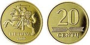 Coins of the Lithuanian litas - Image: 20 centai (1997)