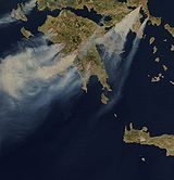 Rapidfire – NASA image of the Greek wildfires, taken on 25 August.
