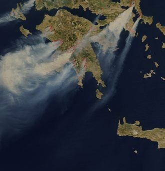 Air quality index - Wildfires give rise to an elevated AQI in parts of Greece
