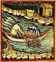 Fishing with nets, tacuinum sanitatis casanatensis (XIV century)
