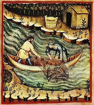 Fishing net - Tacuinum sanitatis casanatensis, Baghdad, 14th century