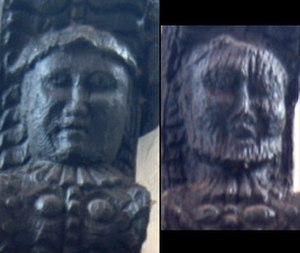 46 High Street, Nantwich - Carvings of Thomas and Anne Churche on corbels