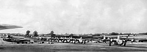 491st Bombardment Group - Consolidated B-24 Liberators of the 491st Bomb Group lining up for takeoff.