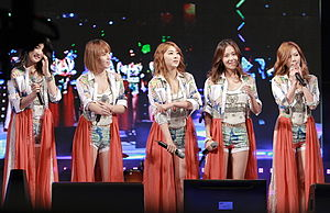 4Minute in 2012 From left to right: Jihyun, Jiyoon, Sohyun, Gayoon, and Hyuna