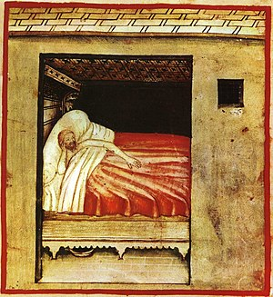 painting of a man awake in bed