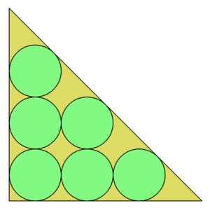 Packing problems - The optimal packing of 6 circles in a right isosceles triangle
