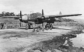 6th Weapons Squadron - 6th Night Fighter Squadron P-61 at a rough airfield somewhere in the Pacific, 1944