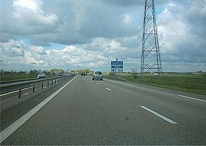 A13 autoroute - The A13 Westbound just before the Giberville service station