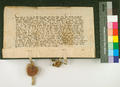 AGAD Engelhard Rabe wielki marszalek i Konrad von Valrode wielki komtur zakonu krzyzackiego zawieraja uklad z ksieciem Skirgiella o wymianie jencow.png