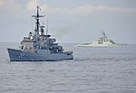 ARC Caldas (FM-52) and HMCS Iroquois (DDG 280) in the Caribbean 2013.JPG