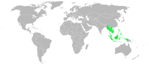 Peta dunia yang menunjukkan lokasi Asia Tenggara