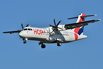 ATR 42 - HOP! ATR 42–500 on final approach at Toulouse–Blagnac Airport, France