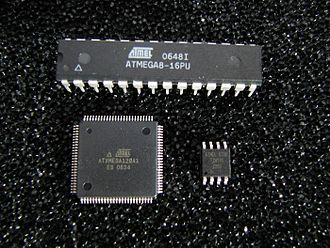 AVR microcontrollers - Various older AVR microcontrollers: ATmega8 in 28-pin narrow dual in-line package (DIP-28N), ATxmega128A1 in 100-pin thin quad flat pack (TQFP-100) package, ATtiny45 in 8-pin small outline (SO-8) package.