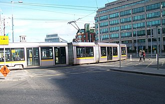 Amiens Street, Dublin - LUAS tram crossing Amiens Street into Store Street.
