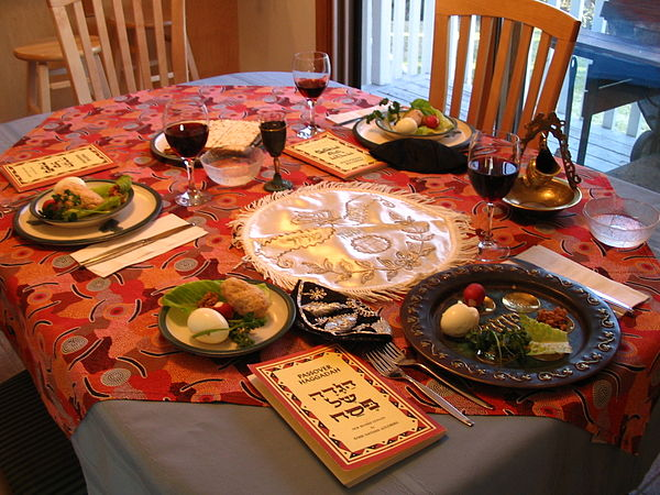 A Seder table setting, commemorating the Passover and Exodus A Seder table setting.jpg