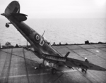 A Supermarine Seafire nosed over on the flight deck of HMS SMITER after a landing accident, 1944 02.png