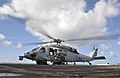 A U.S. Navy MH-60S Seahawk helicopter assigned to Helicopter Sea Combat Squadron (HSC) 26 lands on the flight deck of the aircraft carrier USS Nimitz (CVN 68) in the Pacific Ocean Oct. 18, 2014 141018-N-AZ866-008.jpg