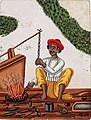 A blacksmith in front of his fire with one hand on a chain attached to the bellows.jpg