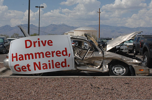 A car sits in the 755th Aircraft Maintenance Squadron's parking lot July 15, 2013, at Davis-Monthan Air Force Base, Ariz., to represent an accident resulting from drunk driving 130715-F-WQ860-006