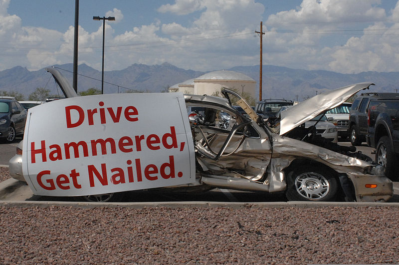 File:A car sits in the 755th Aircraft Maintenance Squadron's parking lot July 15, 2013, at Davis-Monthan Air Force Base, Ariz., to represent an accident resulting from drunk driving 130715-F-WQ860-006.jpg
