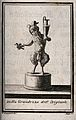 A satyr standing on a plinth holding a jug in one hand and a Wellcome V0038949.jpg