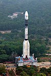 A side view of GSLV-F08 on the Mobile Launch Pedestal proceeding towards the Umbilical Tower.jpg