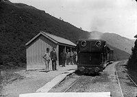 A train in Abergynolwyn station on the Talyllyn railway NLW3363937.jpg
