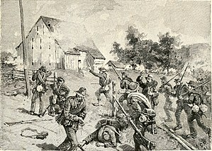 Roy Stone - Confederate troops attack the barn